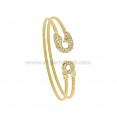 RIGID BRACELET WIRE TYPE FRENCH PINK RHODIUM SILVER AND GOLDEN TIT 925 AND ZIRCONIA
