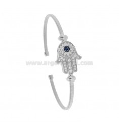 RIGID BRACELET WITH A WIRE OF CENTRAL FATIMA AND ZIRCONIA IN RHODIUM SILVER TIT 925