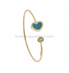CONTRARY RIGID BRACELET WITH FINAL HEARTS IN SILVER ROSE TIT 925 ‰ AND ENAMEL