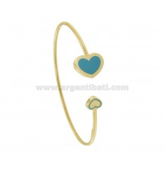 CONTRARY RIGID BRACELET WITH FINAL HEARTS IN GOLDEN SILVER TIT 925 ‰ AND ENAMEL