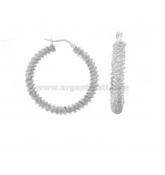 RING EARRINGS WITH DIAMOND SPIRAL DIAMOND 30 IN RHODIUM SILVER TIT 925 ‰