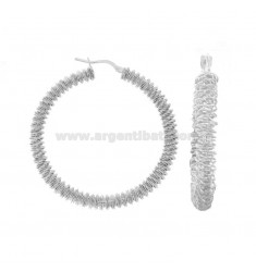 RING EARRINGS WITH DIAMOND SPIRAL DIAMOND 40 SILVER RHODIUM TIT 925 ‰