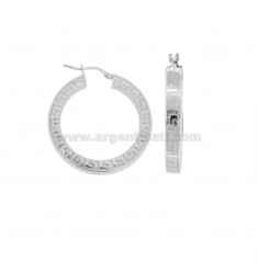 EARRINGS WITH RING SQUARE 4X4 MM WITH GREEK DIAM 25 IN SILVER RHODIUM TIT 925 ‰