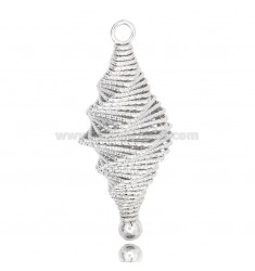 PENDANT TROTOL WITH DIAMOND WIRE SPIRAL IN SILVER RHODIUM-PLATED TIT 925 ‰