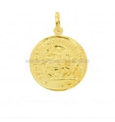 PENDANT COIN MM 23 IN GOLDEN SILVER TIT 925