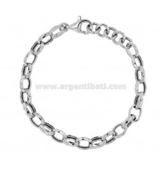 BRACCIALE FORZATINA DIAMANTATA MM 10 IN ARGENTO RODIATO TIT 925 CM 19-21