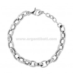 BRACELET CABLE WITH CRUSHED MM 11 IN SILVER RHODIUM TIT 925 CM 19-21