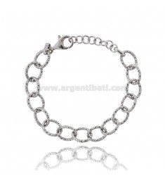BRACCIALE FORZATINA A CANNA DIAMANTATA MM 13 IN ARGENTO RODIATO TIT 925 CM 19-21