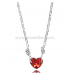 POP CORN NECKLACE WITH CENTRAL HEART IN SILVER RHODIUM TIT 925 AND CRYSTAL CM 45
