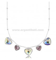 POP CORN NECKLACE WITH PENDANT HEARTS IN SILVER RHODIUM TIT 925 AND CRYSTAL CM 45