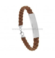 LEATHER BRACELET WITH 8 MM PLATE IN SILVER RHODIUM TIT 925 CM 20