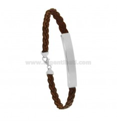 LEATHER BRACELET WITH 6 MM PLATE IN SILVER RHODIUM TIT 925 CM 20