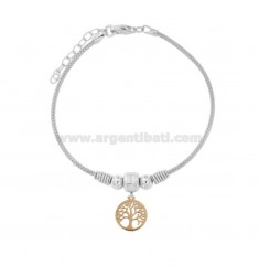 SPIGA BRACELET WITH TREE OF LIFE IN SILVER RHODIUM AND ROSE TIT 925 CM 17-19