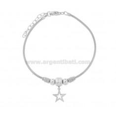 SPIGA BRACELET WITH STAR IN SILVER RHODIUM TIT 925 CM 17-19