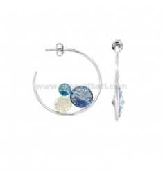 RING EARRINGS 30 MM IN SILVER RHODIUM TIT 925 AND CRYSTAL