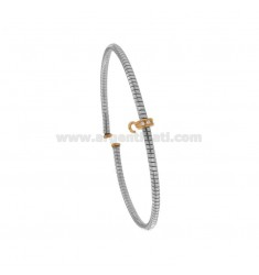 RIGID TUBULAR OPEN BRACELET WITH ZIRCONIA BRIDGE AND HOOK IN SILVER RHODIUM AND ROSE TIT 925