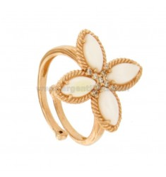 FLOWER RING 4 POINTS IN SILVER ROSE TIT 925, MOTHER OF PEARL AND ZIRCONIA ADJUSTABLE SIZE