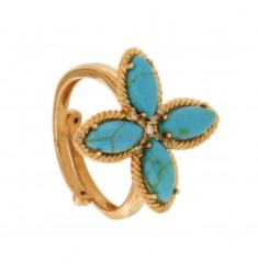 FLOWER RING 4 POINTS IN SILVER ROSE TIT 925, TURQUOISE PASTA AND ZIRCONIA ADJUSTABLE MEASURE
