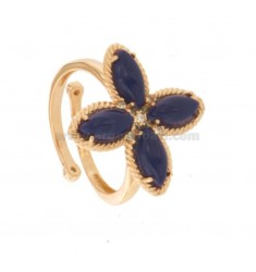 FLOWER RING 4 POINTS IN SILVER ROSE TIT 925, SIMIL LAPIS AND ZIRCONIA ADJUSTABLE SIZE