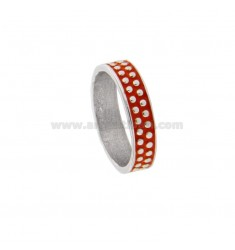 5 MM BAND RING WITH SILVER RHODIUM TIT 925 MICROSPHERES AND ORANGE POLISH VARIOUS MEASURES