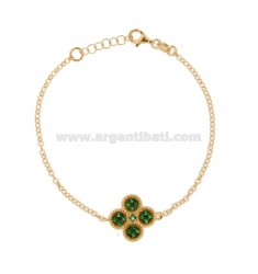 ROLO BRACELET 'WITH CENTRAL FLOWER IN SILVER ROSE TIT 925, AND GREEN ZIRCONIA CM 17-20