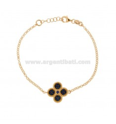 ROLO BRACELET 'WITH CENTRAL FLOWER IN SILVER ROSE TIT 925, AND BLUE ZIRCONIA CM 17-20