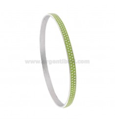 CIRCLE BRACELET 5 MM WITH SILVER RHODIUM TIT 925 AND GREEN ENAMEL