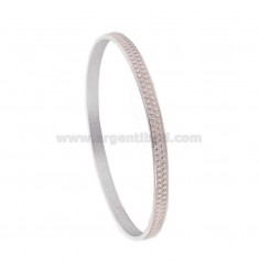 CIRCLE BRACELET 5 MM WITH SILVER RHODIUM TIT 925 MICROSPHERES AND PINK ENAMEL