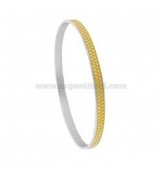 CIRCLE BRACELET 5 MM WITH SILVER RHODIUM TIT 925 MICROSPHERES AND YELLOW ENAMEL