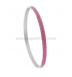 CIRCLE BRACELET 5 MM WITH SILVER RHODIUM TITAN TITLES AND FUCSIA ENAMEL