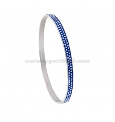 CIRCLE BRACELET 5 MM WITH SILVER RHODIUM TIT 925 AND BLUE ENAMEL