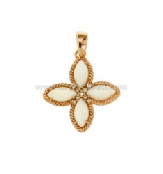 PENDANT FLOWER WITH 4 POINTS IN SILVER ROSE TIT 925, MOTHER OF PEARL AND ZIRCONIA
