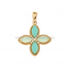 PENDANT FLOWER TO 4 POINTS IN SILVER ROSE TIT 925, STONES HYDROTHERMAL GREEN AND ZIRCONIA