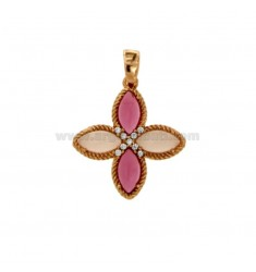PENDANT FLOWER 4 POINTS IN SILVER ROSE TIT 925, STONES HYDROTHERMAL ROSE AND ZIRCONIA