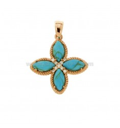 PENDANT FLOWER WITH 4 POINTS IN SILVER ROSE TIT 925, PASTA OF TURQUOISE AND ZIRCONIA