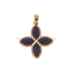 PENDANT FLOWER WITH 4 POINTS IN SILVER ROSE TIT 925, SIMIL LAPIS AND ZIRCONIA