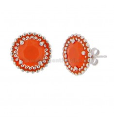 LOBO EARRINGS 15 MM WITH SILVER RHODIUM MICROSPHERES TIT 925 HYDROTHERMAL STONE AND ORANGE ENAMEL