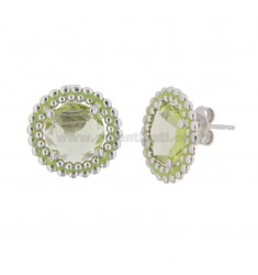 EARRINGS WITH LOBO 15 MM WITH MICROSFERE IN SILVER RHODIUM TIT 925 STONE HYDROTHERMAL AND GREEN ENAMEL