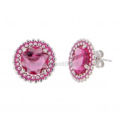 LOBO EARRINGS 15 MM WITH MICROSFERE IN SILVER RHODIUM TIT 925 HYDROTHERMAL STONE AND POLISHED IN FUCHSIA