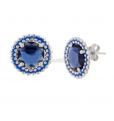 EARRINGS WITH LOBO 15 MM WITH MICROSFERE IN SILVER RHODIUM TIT 925 STONE HYDROTHERMAL AND BLUE ENAMEL
