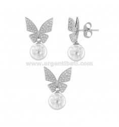 EARRINGS AND PENDANT BUTTERFLY PEARL WHITE SILVER RHODIUM TIT 925 ‰ AND ZIRCONIA