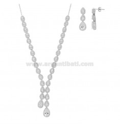 SET OF 4 PIECES DROP WITH PAVE OF ZIRCONIA IN RHODIUM SILVER TIT 925 ‰
