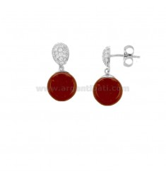 EARRINGS WITH RED CORAL PASTA BALL AND ZIRCON RHODIUM SILVER TIT 925 ‰