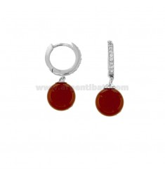 CIRCLE EARRINGS WITH RED CORAL PASTA BALL AND ZIRCONIA IN RHODIUM SILVER TIT 925 ‰