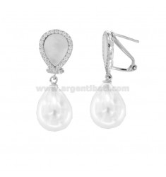 EARRINGS WITH PEARL AND PEARL IN SILVER RHODIUM TIT 925 ‰ AND ZIRCONIA