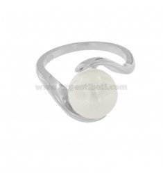 RING MIT PERLE IN SILBEREM RHODIUM TIT 925 ‰ MIS 18