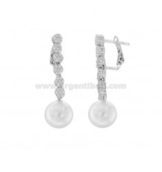 PENDANT EARRINGS WITH PEARL AND ZIRCONIA IN RHODIUM SILVER TIT 925 ‰