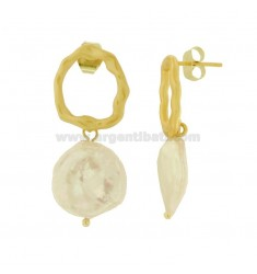 PENDANT EARRINGS WITH PEARL IN GOLDEN AND SATIN SILVER TIT 925 ‰