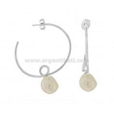 CIRCLE EARRINGS RICCIOLO WITH PEARL IN RHODIUM SILVER TIT 925 ‰