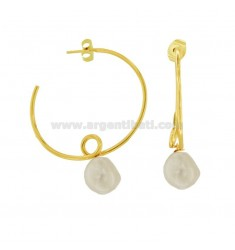 CIRCLE EARRINGS RICCIOLO WITH PEARL SILVER SILVER TIT 925 ‰